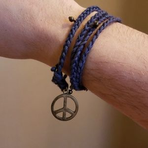 Jewelry - Wrap bracelet (or choker) with peace sign charm